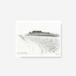 Downloadable Printable Art Gift, Table Mountain Pen Drawing in Sizes A5, A4, A3 and 8×10 inches (KBRG)