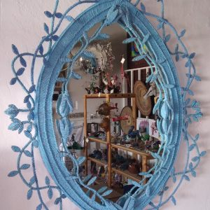 Blue Bead and Wire Mirror