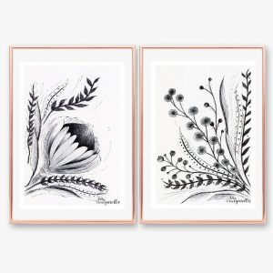 2 Downloadable Printable Art Gifts, Protea and Foliage Plant / Botanical Flower Pen Drawings, ea. in Size A5 and A4