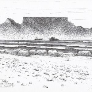 Downloadable Printable Art Gift, Table Mountain Pen Drawing in Sizes A5, A4, A3 and 8×10 inches