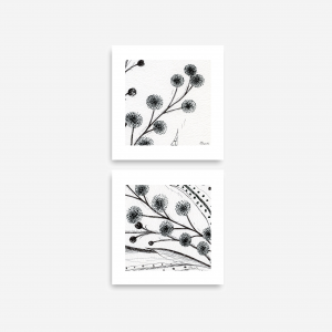 Downloadable Printable Art Gifts, Abstract Plant Botanical Pen Drawings in Size 6 x 6 inches (Abstr.7,8)