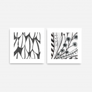 Downloadable Printable Art Gifts, Leaves and Wildflower Abstract Plant Botanical Pen Drawings in Size 6 x 6 inches (Abstr.1,5)