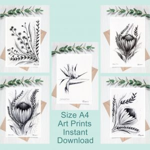 5 x Downloadable Printable Art Gifts, Flower Botanical Pen Drawings, each in Size A4. Art for Nature Lovers made in Cape Town