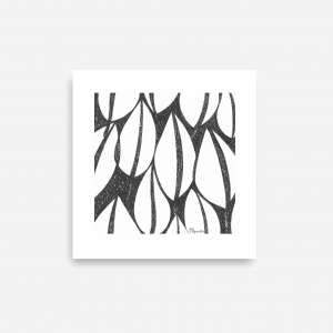 5 x Downloadable Printable Art Gifts, Abstract Plant Botanical Pen Drawings in Size 6 x 6 inches (Abstr.1,2,3,4,5)